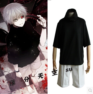 546092bd63b0 New Animation Tokyo Ghoul cos kaneki ken ccosplay halloween men and women  Summer new Everyday clothing shirt and shorts
