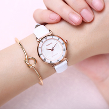 OTS Ladies Fashion Quartz Watch Women Leather Casual Dress Women s Watches Rose Gold Crystal reloje