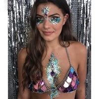 Summer Festival Style Metal Mirror Tops Glitter Mermaids Tops Beachwear Bohemian Womens Bralette Tops Sexy Club Show Wear