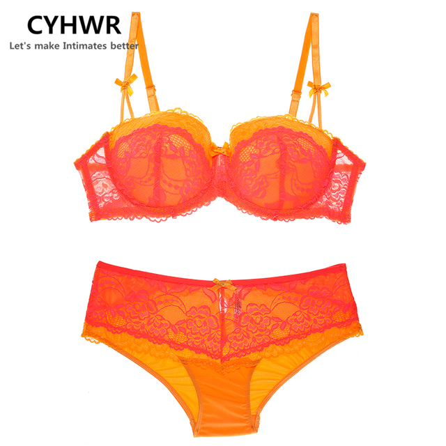 CYHWR women s sexy lace push up underwear set Bow deep V bras for large  sizes lingerie D E cup 27d77ef79
