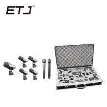 ETJ Marca Kit Instrumento Microfone Condensador Profissional 7 Peça Tambor Tambores De Percussão Guitarra Bronze 7A