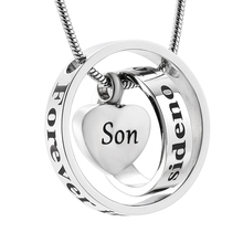 Cremation Jewelry Urn Necklace for Ashes Circle Heart Urn Ashes Keepsake Pendant No Longer By My Side Forever In My Heart