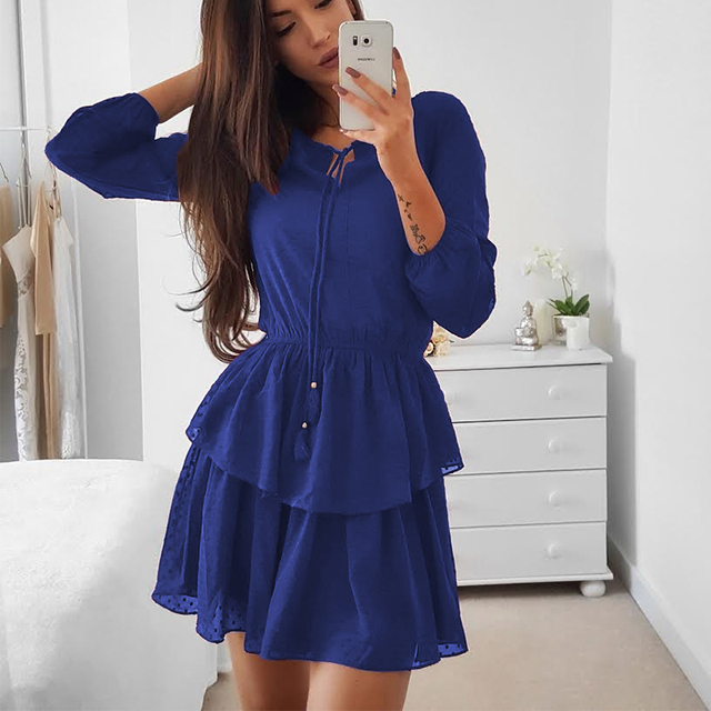 2018 Autumn Flare Long Sleeve Ruffle Party Dress Women Layered Short Dress  Solid Elegant Blue Red f73e26d37e
