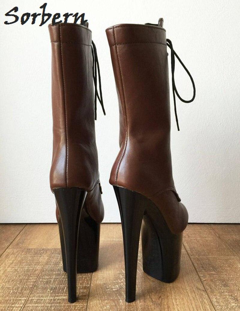 Mediados Arranque Unisex Mujer Señoras Ternero Coffee Sorbern Zapatos De Botas Mate Arte Zapato Piel Cosplay Rendimiento Papel Café UqxwEwz