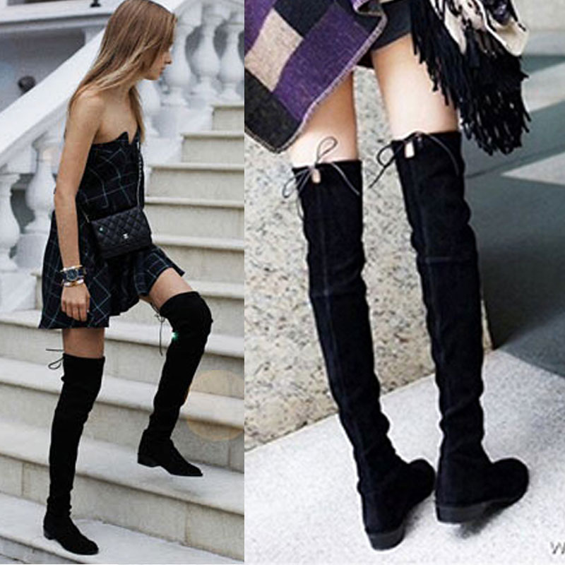 11 11 Faux Suede Sexy Over The Knee Boots Winter Thigh High Boots Shoes Woman Lace Up Zipper Slim Stretch Snow Boots Size 35-39 ppnu woman winter nubuck genuine leather over the knee snow boots women fashion womens suede thigh high boots ladies shoes flats