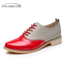 2017 Genuine leather big woman US size 9.5 designer vintage flat shoes handmade yellow red gray oxford for women