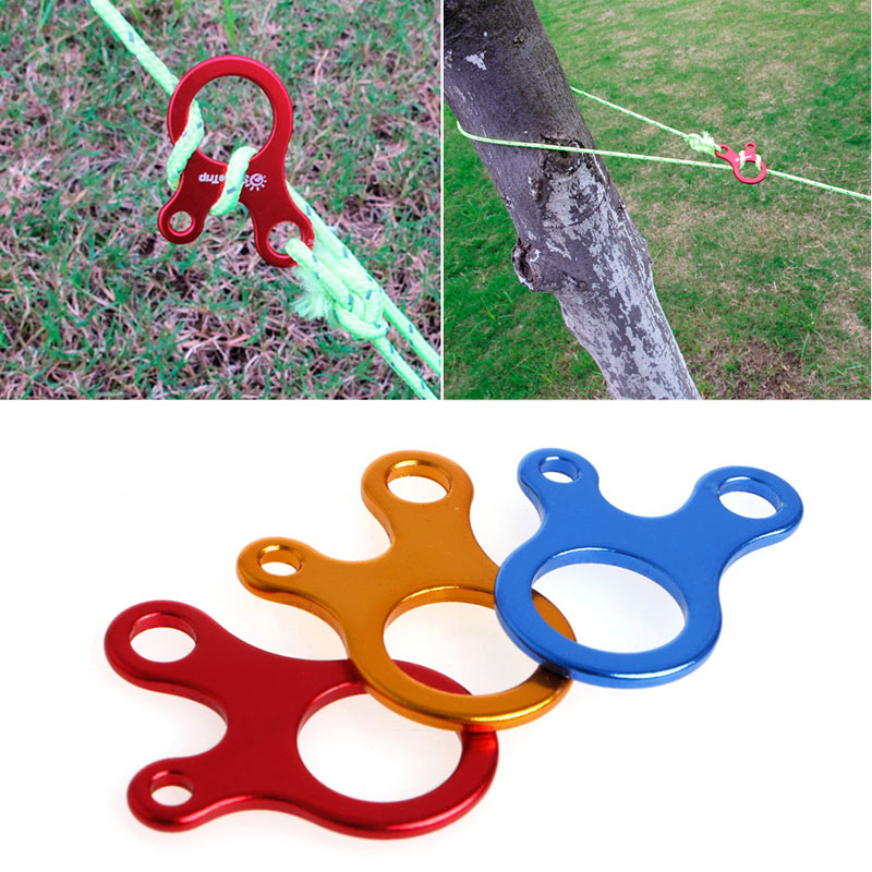 10pcs 3 Holes Camping Awning Cord Rope Tensioner Guy Line Runners Hook  Hanger