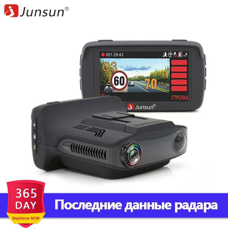 Junsun Car DVR Camera Radar detector GPS 3 in 1 for Russian Ambarella A7 anti radar Speedcam FHD 1080P Video Recorder Dash Cam luces led de policía