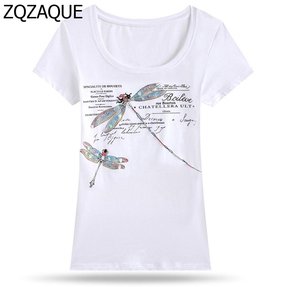 2018 De Mode de Femmes Paillettes Libellule T-shirts Européen et Américain  Casual T-shirts Livraison Gratuite SY066 de Lettres Impression Femelle 89bf868cca0c