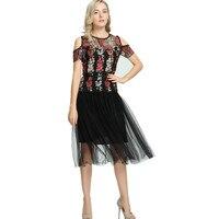 2017 Newest Mesh Floral Embroidery Black Vintage Dress Knee Length Women Elegant Short Sleeve Tulle Gauze