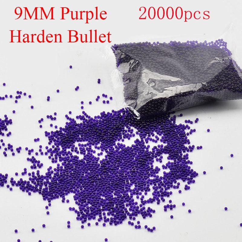 2 sáčky Reforce Crystal Bullet Purple Barva Harden Bomb Toy Vodní pistole Paintball Zbraně Kulky Airsoft Gun Příslušenství 9MM