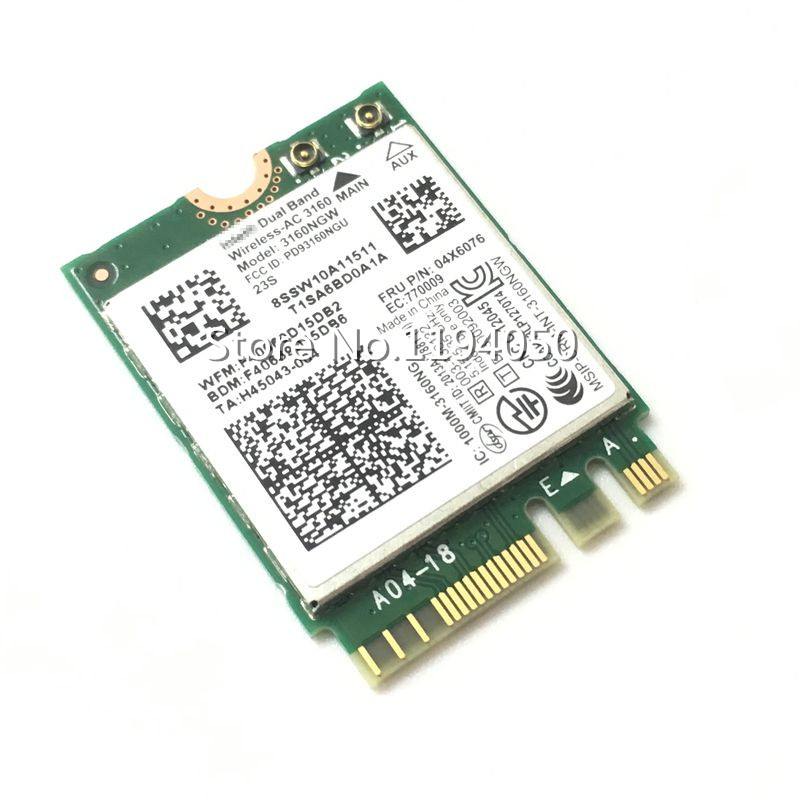 Intel Dual Band Wireless-AC 3160 3160NGW 04X6034 04X6076 für Y40 Y50 E10-30 E455 E555 2,4 GHz / 5,8 GHz WLAN