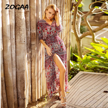 ZOGAA Women Boho Print Long Dress Lace-up Button Summer New Brand Cloth Straight Maxi V-neck Holiday Vintage Dresses