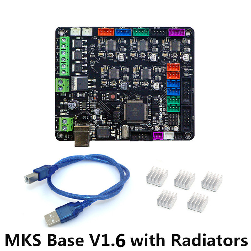 3D Printer Parts Sunhokey High Quality 12V MKS Base V1 6 Mainboard With USB Radiators Heatsinks
