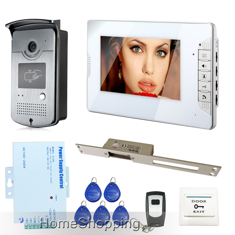 FREE SHIPPING 7 inch Video Intercom Door Phone System 1 White Monitor 1 RFID Access Reader Camera Electric Strike Lock In Stock free shipping 7 video intercom door phone system 3 white monitor 1 doorbell camera for 3 household rfid access strike lock