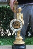Western Art Bronze Copper Marble Pedestal Clock Pendulum Goddess Figurine Statue