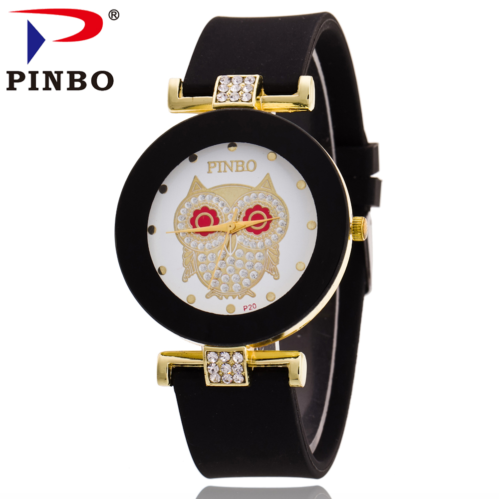 PINBO 2016 New Fashion Brand Gold Owl Casual Quartz Watch Women Crystal Silicone Jelly Watches Relogio Feminino Clock Hot Sale new fashion unisex women wristwatch quartz watch sports casual silicone reloj gifts relogio feminino clock digital watch orange