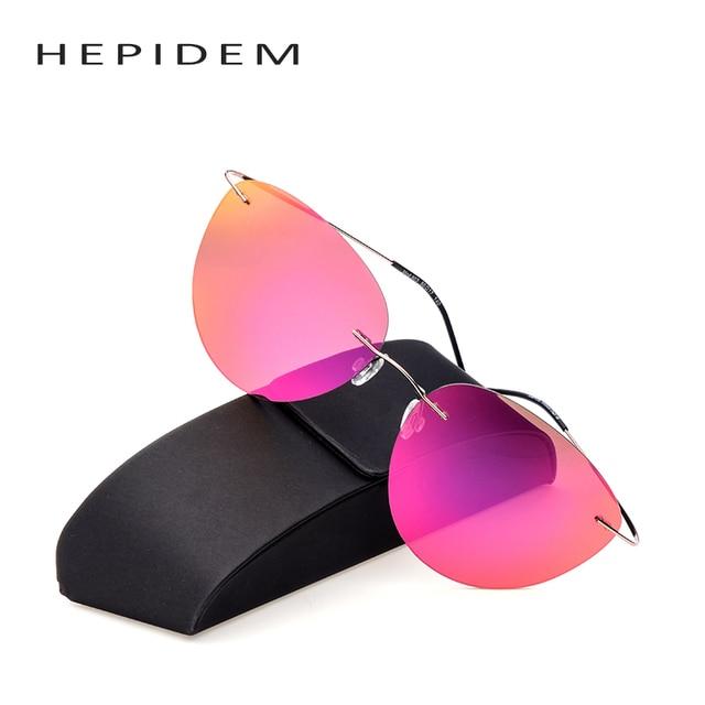 2eba2287c20 with logo Titanium frame Rimless Polarized sunglasses Super light Men mirror  cat eye Sunglasses designer sun