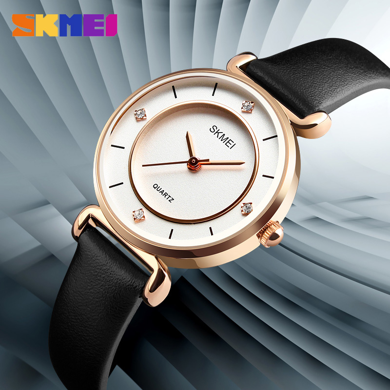 New Zegarek Damski SKMEI Fashion Casual Watches Women Waterproof Wristwatches Leather Strap Ladies Quartz Watch Relogio Feminino