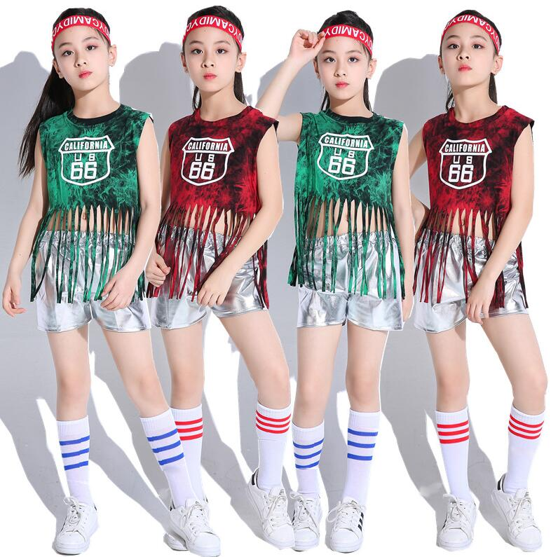 Kids Jazz Dance Costumes Tops Shorts Set Sequin Hip Hop Street Dancing Dress Costume Cheerleading Team Clothes For Gilrs