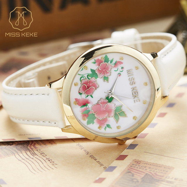 Miss Keke Fashion Quartz Watches Women 3D Clay Flower Floral Dress Wristwatch Clock Ladies Girls White Leather Simple Watch 1324