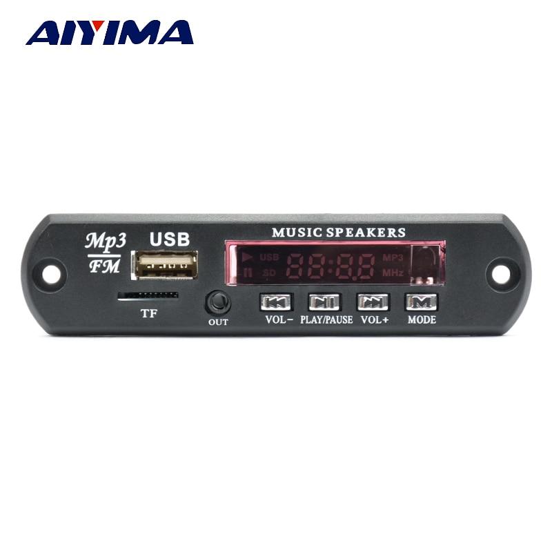 Aiyima תמיכת מפענח MP3 לוח מגבר שני ערוצים Bluetooth FM APE כרטיס קול USB MP3 WAV WMA אפליקציה 10 W + 10 W 12 V כוח אספקת