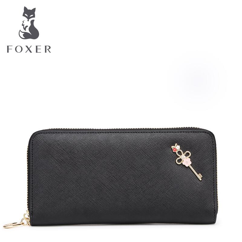 ФОТО FOXER free delivery   Large Zip Wallet Clutch Wallet New Korean version of cross pattern large bills folder