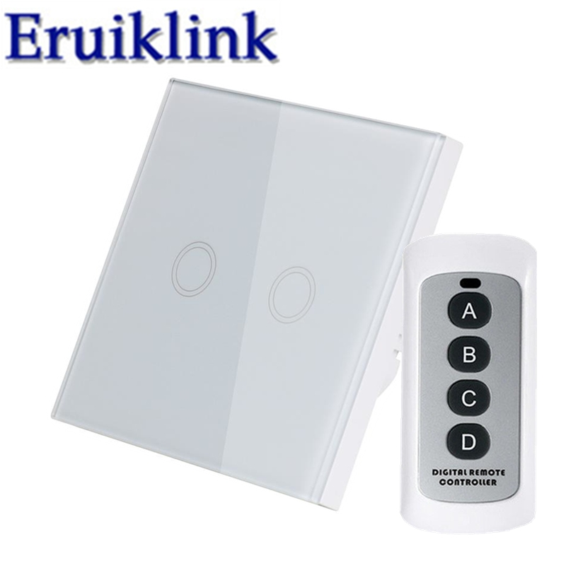 EU/UK Standard 1/2/3 Gang 1 Way Light Remote Control Switch,RF433 Smart Home 220V White Crystal Glass Panel Switch Touch Screen цена