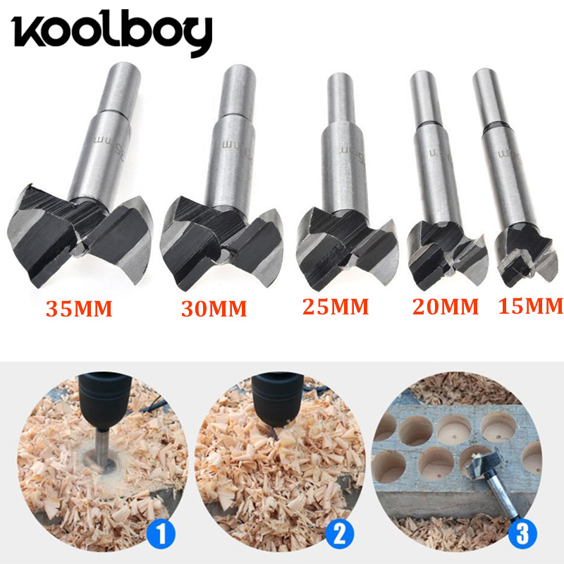1PC 15-35mm high Carbon Steel Long Round Shank Hinge Hole Cutter Forstner Drill Bit Set for Wood Plastic Power Tools accessories 5pcs set 85mm forstner wood drill bit set 15 20 25 30 35mm hole saw cutter wood tools with round shank core drill bit