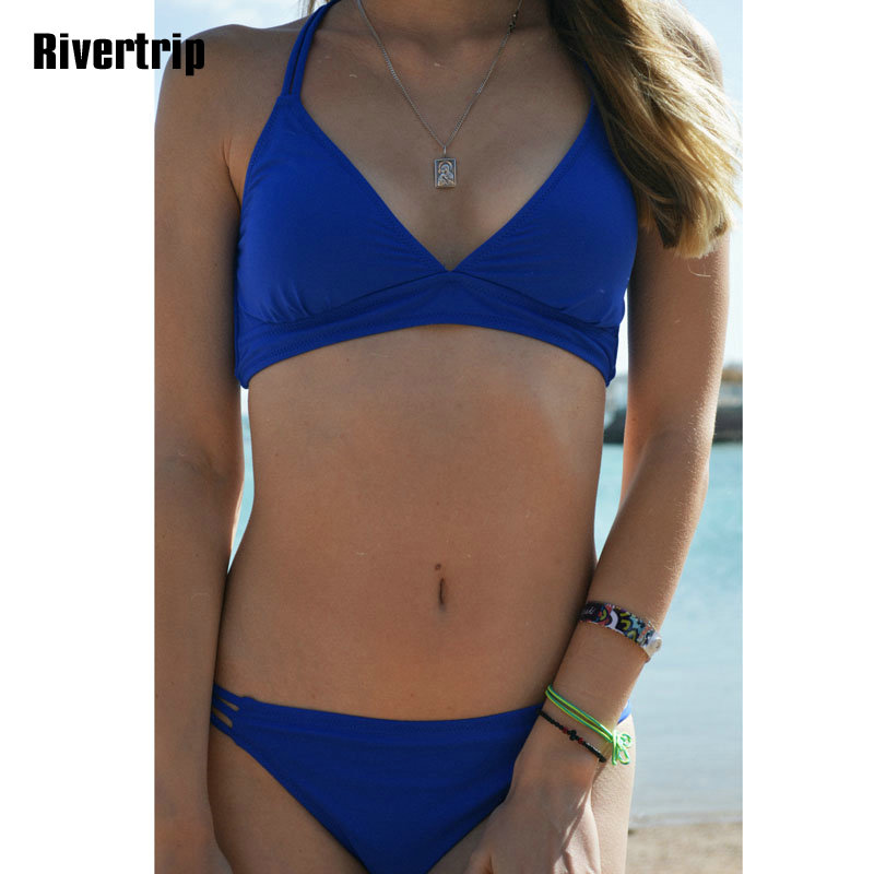 Rivertrip Deep V Bikini Set Swimwear Women Sexy Swimsuit Solid Cross Bandage Bikini Bathing Suit Women