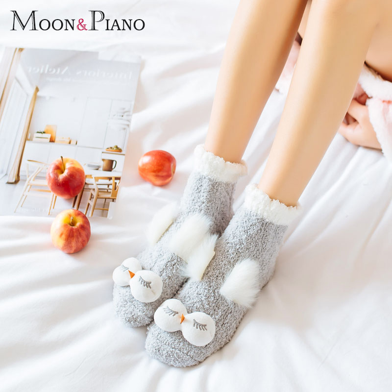 Autumn And Winter Coral Velvet Sleep Sock Female Tube Thickening Warm Round Big Eyes Home Non-Slip Towel Cute Girl Floor Socks