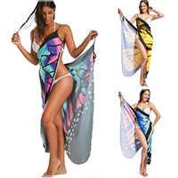 Mujeres Playa Sarong cubrir impreso Playa Wrap Slip 2019 verano mujeres ropa de Playa kaftan túnica Playa vestido