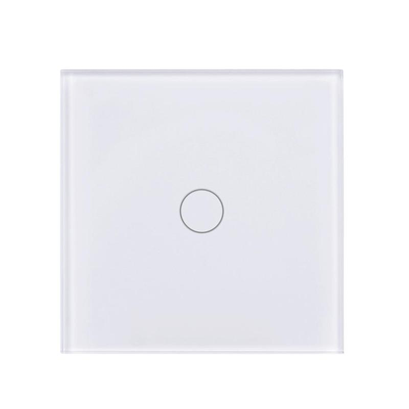 Wireless 1 Gang 1 Way Light Wall Switch Luxury Crystal Touch Glass Panel Wifi Remote Control Switch AC 110-240V EU Standard mvava 3 gang 1 way eu white crystal glass panel wall touch switch wireless remote touch screen light switch with led indicator