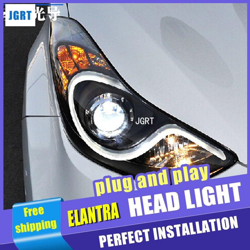 Стайлинга автомобилей для Hyundai Элантра МД светодиодный фары Ассамблеи Новый Elantra DRL объектив двойным Луч H7 с HID комплект 2шт.