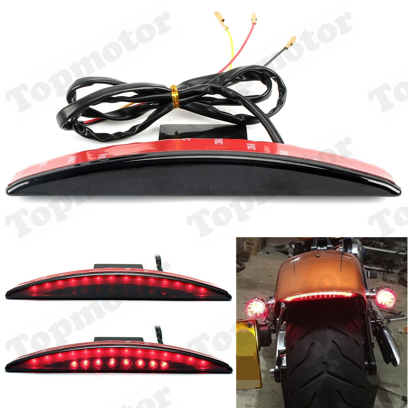 UNDEFINED Motorcycle Accessories Smoke Rear Fender Tip LED Brake Tail Light Lamp For Harley Breakout FXSB 2013 2014 2015 - 2017