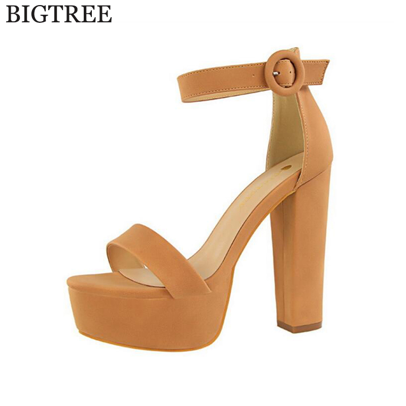 BIGTREE New summer Peep toe Ankle strap orange Sweet Thick high heels sandals women Platform Lady women shoes k110 pink palms women summer new black silk platform shoes high heels peep toe ankle strap shoes gold star design sandals