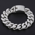 Davieslee HEAVY 16mm Mens Chain Boys Smooth Cut Curb Link Silver Tone 316L Stainless Steel Bracelet DLHB340