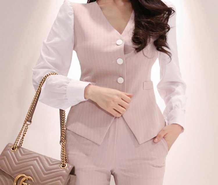 2019 formel trois pièces ensemble femmes pantalon costumes col cranté rayé Blazer veste gilet pantalon poche costume de haute qualité S95506Z - 5