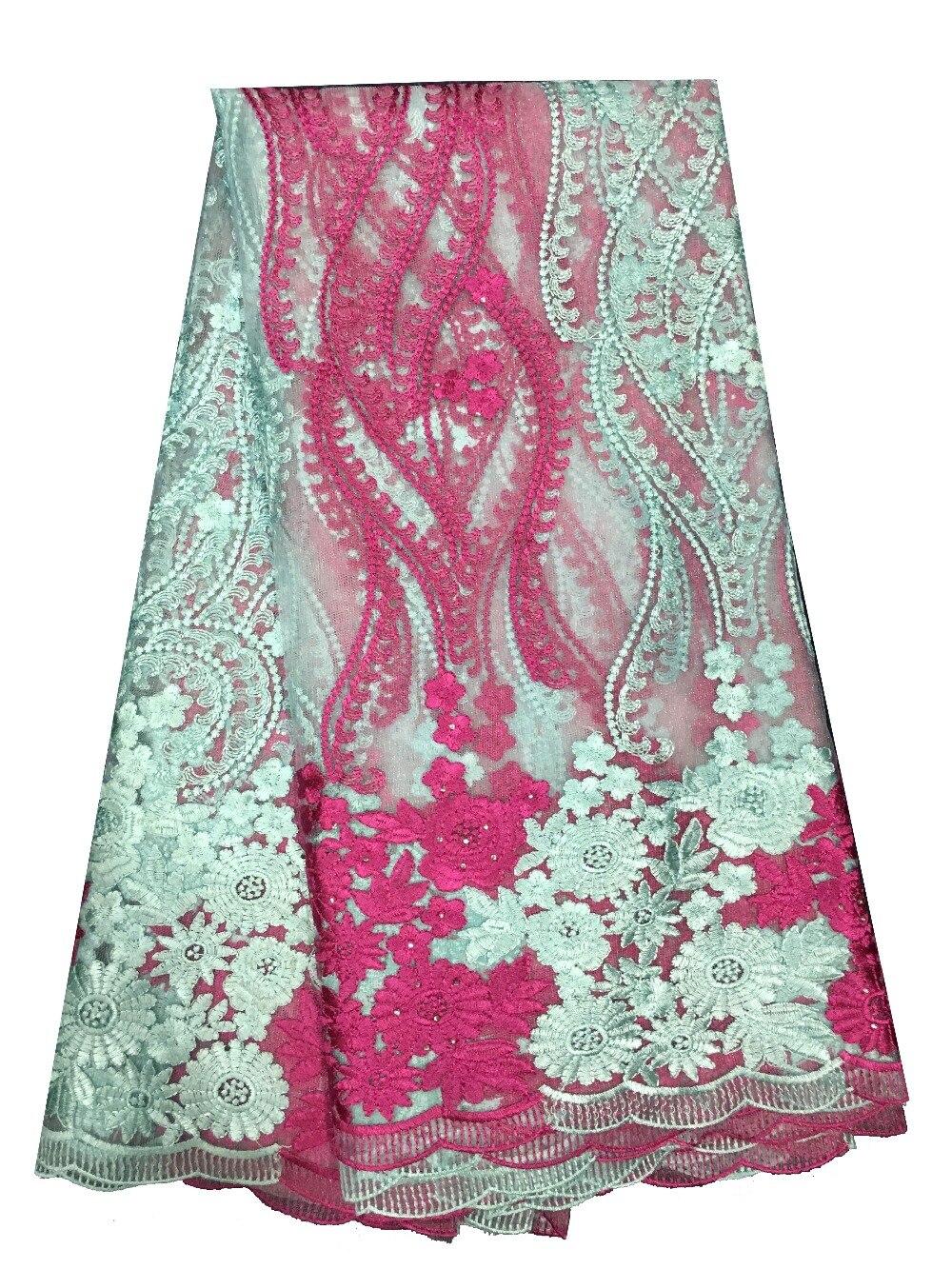 5Y 2017 nouveau design dentelle française mariée brodé tulle dentelle tissu français dentelle tissu. dernière dentelle nigériane FC1628 blanc et rouge