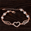 Female Perfect Dating Accessory Sweet Heart Double Wings Design Chain Bracelet Golden Plated Bracelet For Banquet