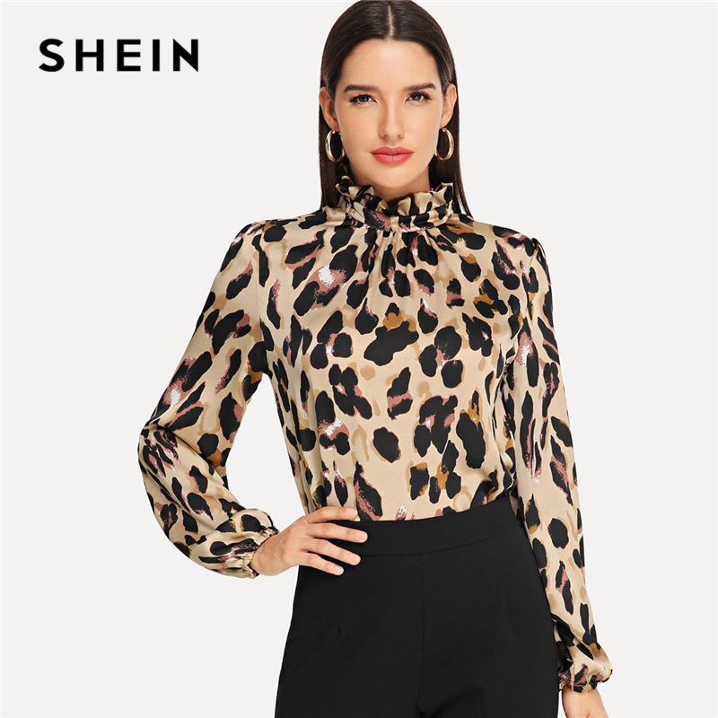 767afd29aa SHEIN Multicolor Pullovers Weekend Casual Frill Mock Neck Leopard Print  Bishop Sleeve Top Women Elegant Autumn