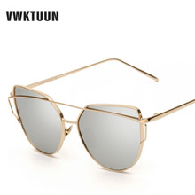 VWKTUUN Twin Beams Sunglasses Women Cat Eye Brand Designer Rose Gold Mirror Sunglasses For Women Reflective Flat Lens Glasses