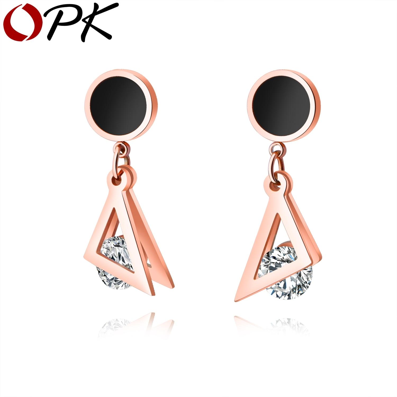 OPK Nouvelle Collection Boucles D'oreilles Double Triangle Avec Effacer Zircon Cubique En Acier Inoxydable Or Rose Boucle D'oreille Rond Noir Shell GE449