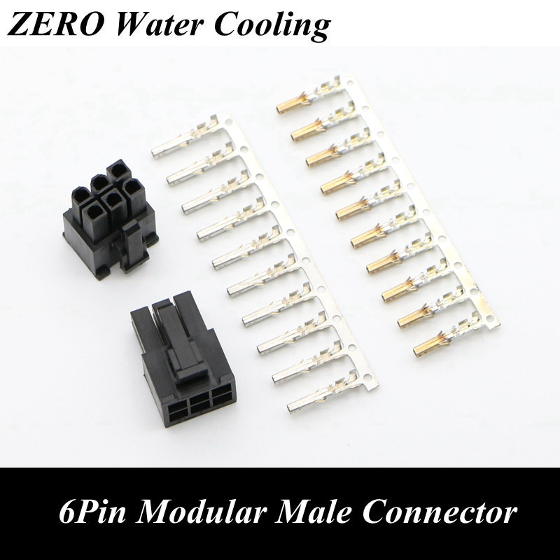 PSU Modular Power Supply 6Pin Connector With 6pcs Terminal Pins For PC Modding.
