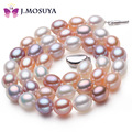 J.MOSUYA 4 Color Strong Luster Natural Pearl Choker Necklace for Women Wedding Party Freshwater Cultured Pearl Jewelry