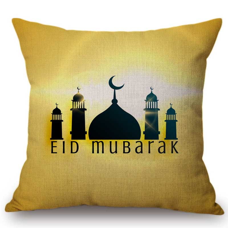 Eid Mubarak Home Decorative Car Pillow Case Cotton Linen Muslim Mosque Ramadan Gift Square Sofa Cushion Cover Hotel Decoration