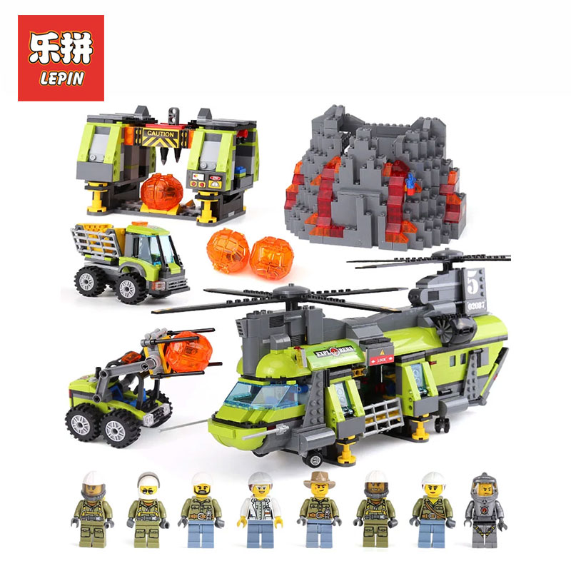 Lepin 02087 1430Pcs City Series Volcano Heavy-Lift Helicopter LegoINGlys 60125 model Building kits Blocks Bricks toys for boys lepin city town city square building blocks sets bricks kids model kids toys for children marvel compatible legoe