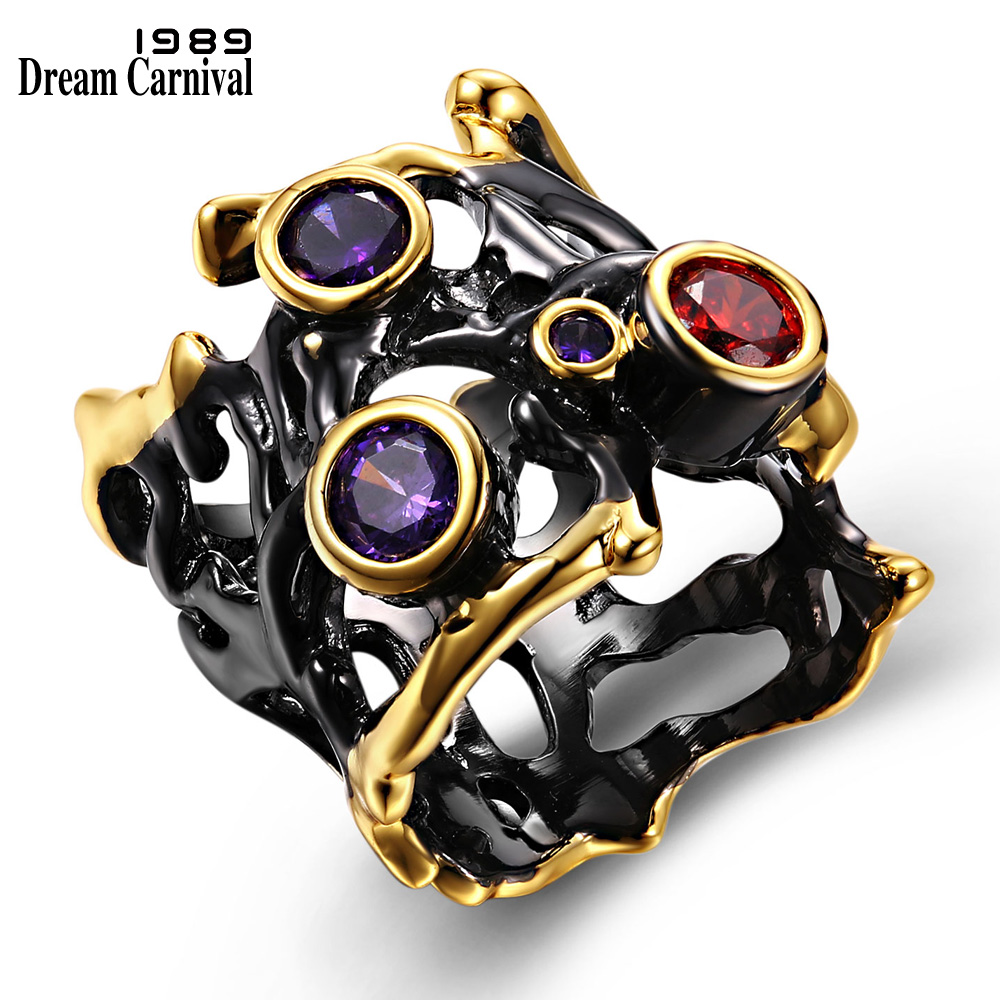 DreamCarnival 1989 Unikatowy design Hip Hop Fioletowy Czerwony CZ Gothic Black Gold Hollow Party Jewelry Vintage Rings for Women R02