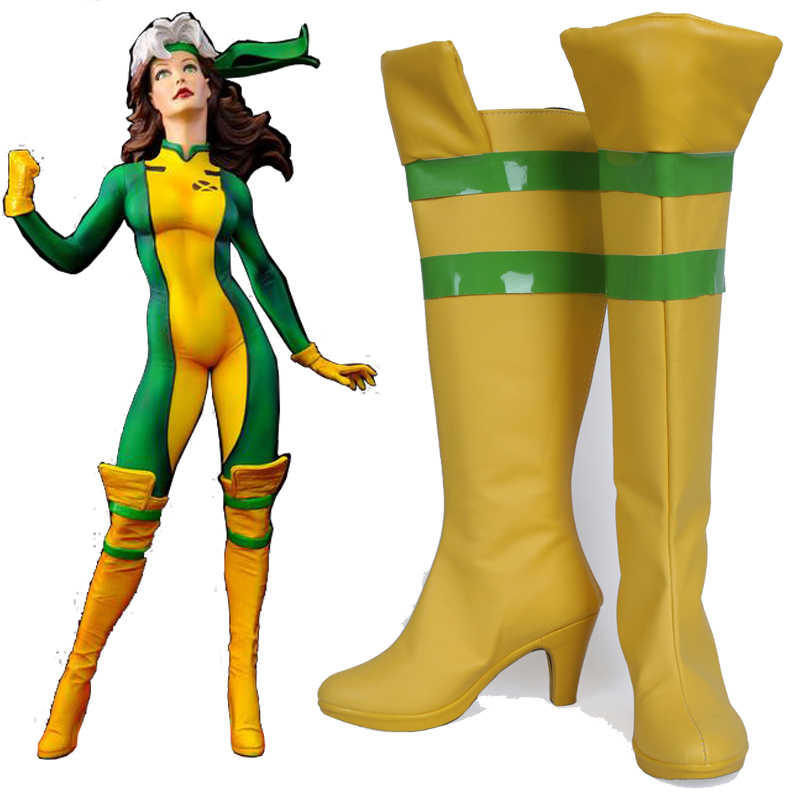 X-Men Rogue Superhero Cosplay Boots Shoes Party Cosplay Boots Custom Made for Women High Heel Shoes