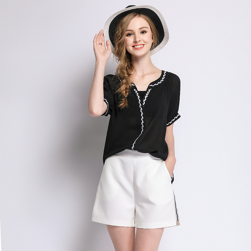 Vêtements Extra large été ultralarge 2018 mode dames asymétrique col en V hauts grande taille en mousseline de soie chemise blouse XXXXL XXXXXL